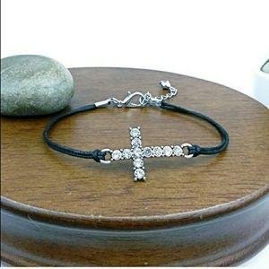 Rhinestone Cross Charm Black Cord Bracelet